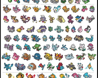Pokemon parody Generation IV (fourth, 4th) cross stitch pattern featuring 119 pokemon - PDF Pattern