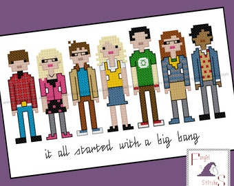 Big Bang Theory Inspired Cross Stitch - PDF Pattern - INSTANT DOWNLOAD
