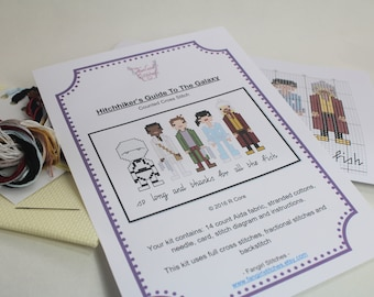Cross Stitch Kit - Hitchhiker's Guide to the Galaxy themed. 14 count aida, DMC threads, colour printed pattern, needle, full instructions
