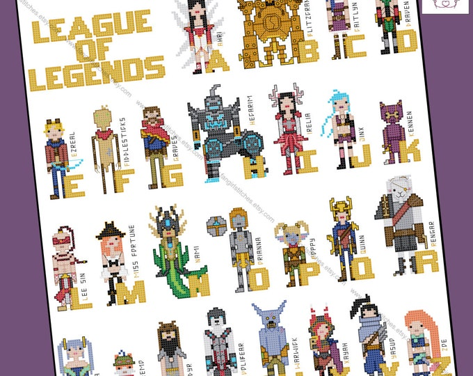 League of Legends themed cross stitch pattern - PDF Pattern - INSTANT DOWNLOAD