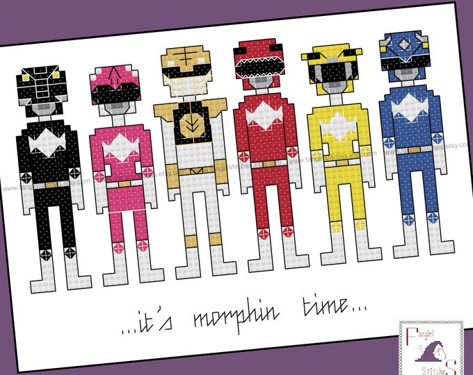 Mighty Morphin Power Rangers Inspired Cross Stitch - PDF Pattern - INSTANT DOWNLOAD
