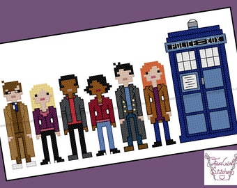 Tenth Doctor with Companions Doctor Who themed Cross Stitch - PDF pattern - INSTANT DOWNLOAD