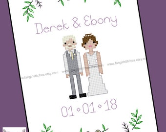 Wedding samplar cross stitch pattern - PDF pattern - INSTANT DOWNLOAD