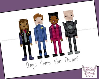Red Dwarf themed Cross Stitch - PDF pattern - INSTANT DOWNLOAD
