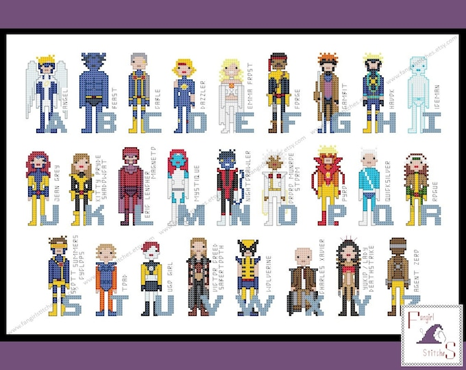 Superhero Comic Book Alphabet Cross Stitch Pattern - X-Men Inspired PDF Pattern - INSTANT Download