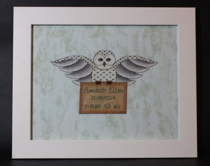 Harry Potter themed Hedwig's Delivery Cross Stitch Baby Sampler Record - PDF Pattern - INSTANT DOWNLOAD