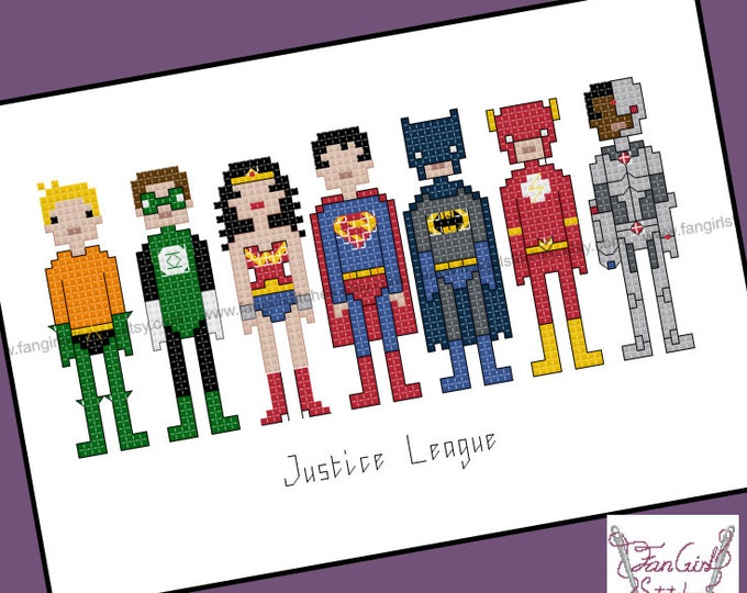Justice League Superhero themed Cross Stitch - PDF pattern - INSTANT DOWNLOAD