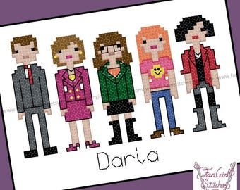 Daria Themed Cross Stitch - PDF Pattern - INSTANT DOWNLOAD