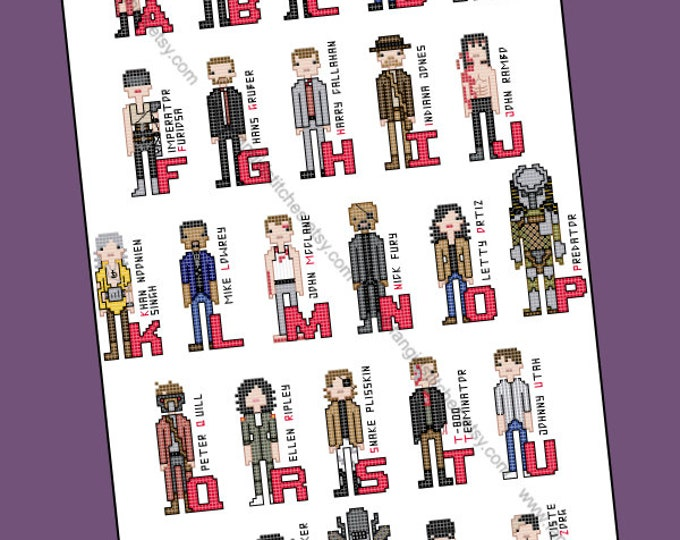 Action Hero Alphabet inspired Cross Stitch - PDF pattern - INSTANT DOWNLOAD