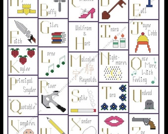 Whedon's Alphabet - Buffy, Angel and Firefly inspired cross stitch - PDF Pattern - INSTANT Download