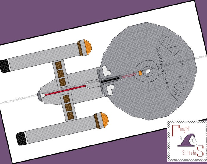 Star Trek themed USS Enterprise Cross Stitch - PDF Pattern - INSTANT Download