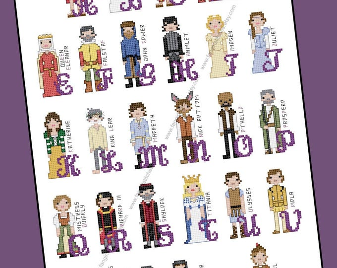 Shakespeare Themed Cross Stitch Alphabet - PDF Pattern - INSTANT DOWNLOAD