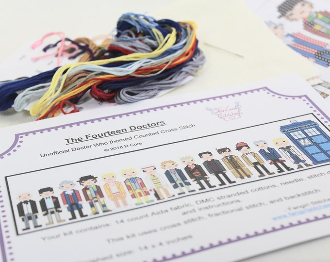 Unofficial Doctor Who themed Fourteen Doctors Cross Stitch KIT