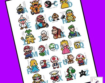 Mario Brothers inspired Character Alphabet cross stitch pattern - INSTANT DOWNLOAD PDF