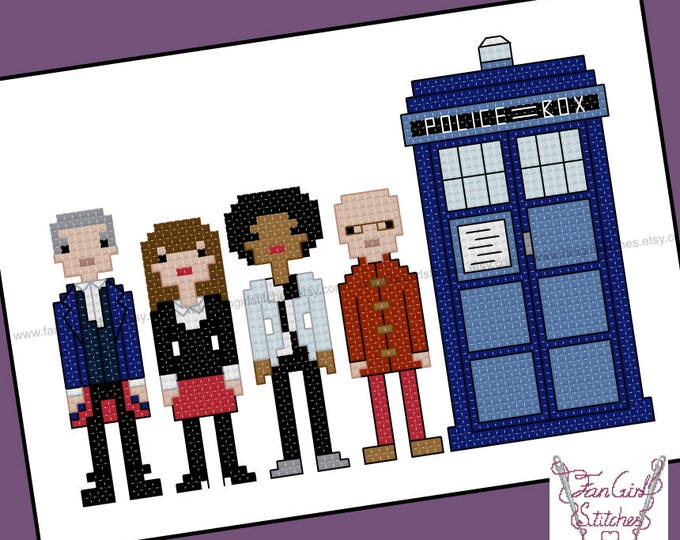 Twelfth Doctor with his Companions. Doctor Who themed Cross Stitch - PDF pattern - INSTANT DOWNLOAD