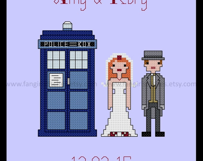 Doctor Who themed Wedding Sampler Cross Stitch Pattern - Rory and Amy - PDF Pattern