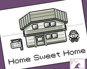 Pokemon inspired Home Sweet Home Cross Stitch - PDF Pattern - INSTANT DOWNLOAD