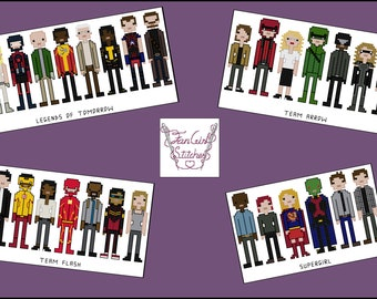 Arrowverse themed cross stitch pattern set - PDF Pattern - INSTANT DOWNLOAD