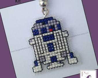Star Wars inspired R2-D2 cross stitch key-ring KIT - all you need to make your own