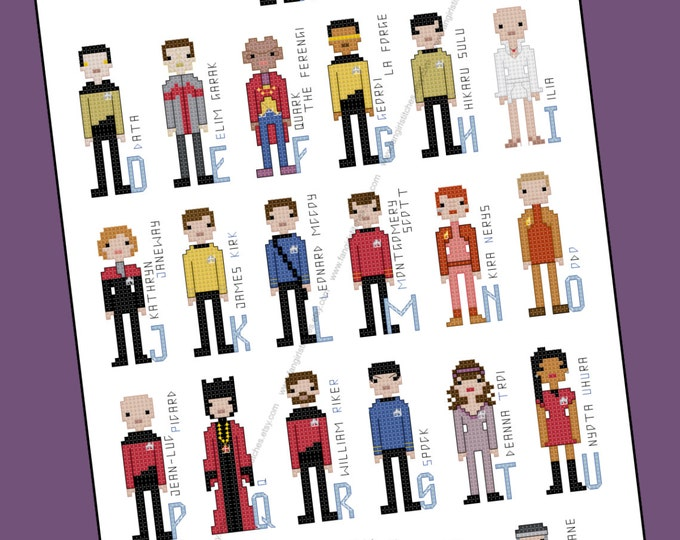 Star Trek Parody Alphabet Cross Stitch - PDF Pattern - INSTANT DOWNLOAD