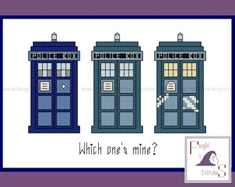 Doctor Who inspired - Which One's Mine Tardis cross stitch - PDF Pattern - INSTANT Download