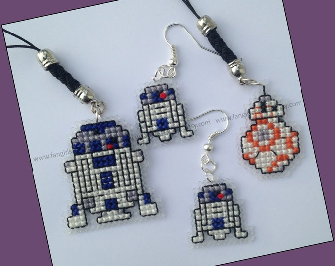 Star Wars inspired droid cross stitch KITS - Buy 3 and save!  All you need to make your own
