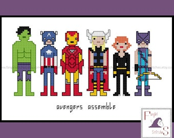 Avengers Assemble cross stitch pattern - PDF pattern - INSTANT DOWNLOAD