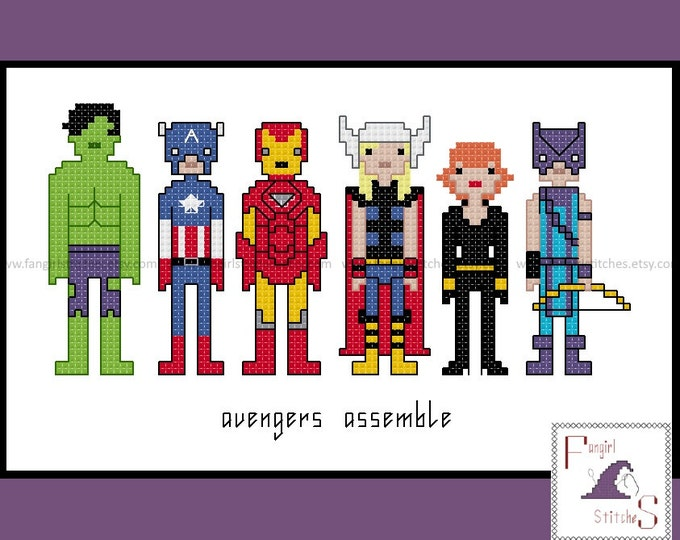 Avengers Assemble cross stitch pattern - PDF pattern - INSTANT DOWNLOAD