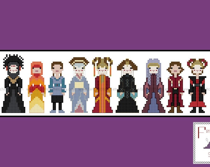 Amidala Padme Star Wars Episode 1 Phantom Menace Cross Stitch - PDF Pattern - INSTANT Download