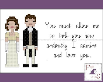 Jane Austen's Pride and Prejudice Characters and Quote cross stitch pattern - PDF pattern - INSTANT Download