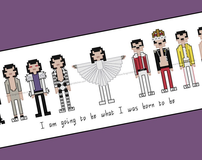 Freddie Mercury counted cross stitch - PDF Pattern - INSTANT DOWNLOAD