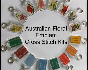 Australian Floral Emblem Cross Stitch Kit - all you need to make your own keyring