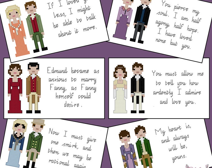 Jane Austen cross stitch pattern set - PDF Pattern - INSTANT DOWNLOAD