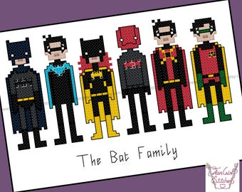 Bat Family superhero themed Cross Stitch - PDF pattern - INSTANT DOWNLOAD