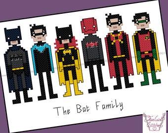 Bat Family superhero themed Cross Stitch - PDF pattern - INSTANT DOWNLOAD