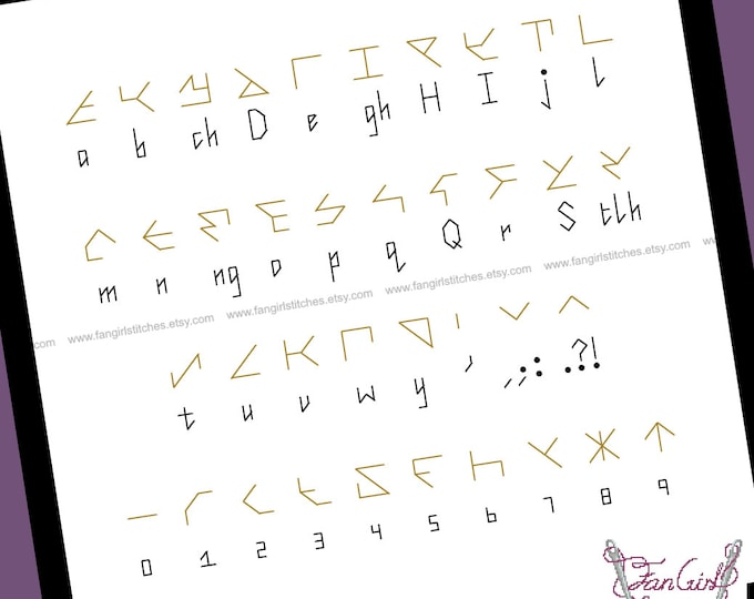 Klingon Alphabet Star trek themed Cross Stitch - PDF pattern - INSTANT DOWNLOAD