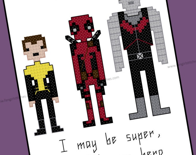 Deadpool Inspired cross stitch pattern