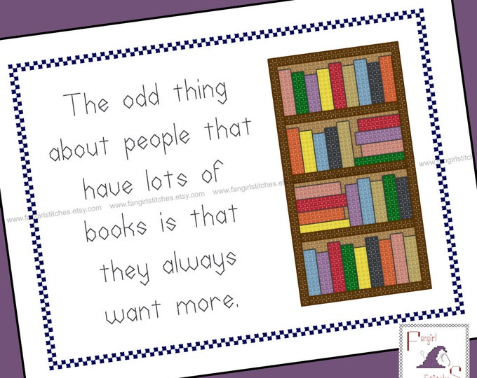 A Lot of Books Quote Counted Cross Stitch - PDF pattern - INSTANT Download