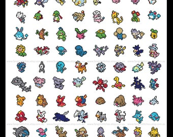 Second Generation, Generation II Pokemon 100 Pokemon parody Cross Stitch - PDF Pattern - INSTANT Download