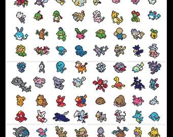 Second Generation, Generation II Pokemon 100 Pokemon parody Cross Stitch - PDF Pattern - INSTANT Download