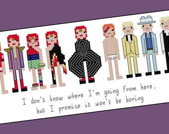 David Bowie themed cross stitch - PDF Pattern - INSTANT DOWNLOAD