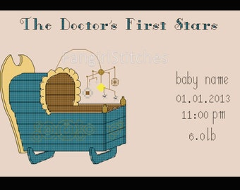 Doctor Who themed Cross Stitch Birth Record Sampler - PDF Pattern - INSTANT Download