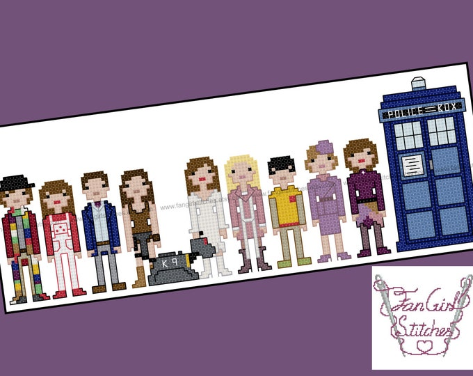 Doctor Who themed Fourth Doctor and companions cross stitch pattern - PDF pattern - INSTANT DOWNLOAD