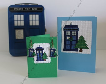 Doctor Who inspired Tardis Christmas Cross Stitch Cards, Earings, Decorations - PDF Pattern - INSTANT Download