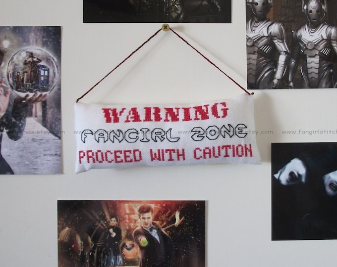 Warning Fangirl / Fanboy Zone padded door hanging cross stitch - 2 x PDF Patterns - INSTANT Download