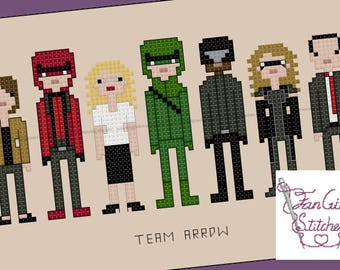 Team Arrow themed Cross Stitch - PDF pattern - INSTANT DOWNLOAD