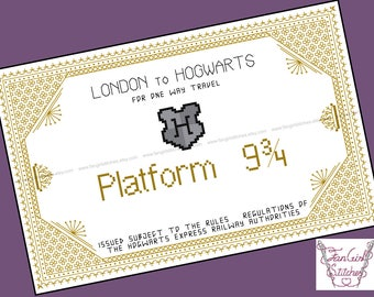 Harry Potter themed Express Train Ticket Cross Stitch Blackwork - PDF pattern - INSTANT DOWNLOAD