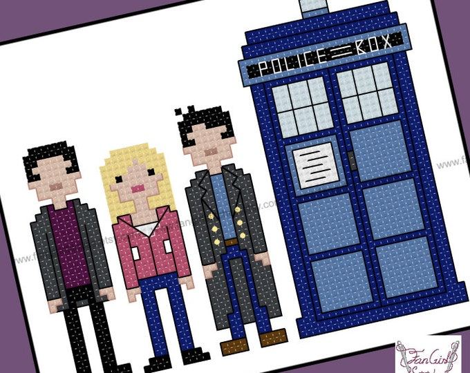 Ninth Doctor with companions Doctor Who themed Cross Stitch - PDF pattern - INSTANT DOWNLOAD