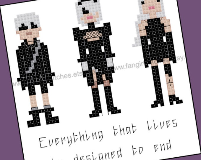 Nier Automata themed cross stitch pattern - PDF pattern - INSTANT DOWNLOAD