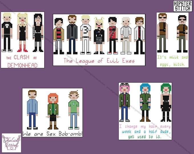 Scott Pilgrim Vs the World inspired cross stitch pattern set - PDF Pattern - INSTANT DOWNLOAD